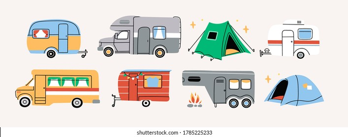 Colorful Campers RV. Various road home Trailers and tent. Camping caravan cars. Holiday trip concept. Mobile home for country and nature vacation. Vector set. Hand drawn illustrations