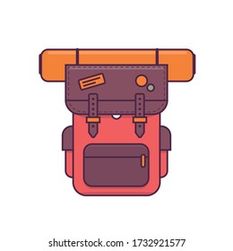 Colorful camping backpack in flat design. Tourist retro back pack vector illustration. Classic styled hiking backpack with sleeping bags. Camp and hike bag and knapsack.