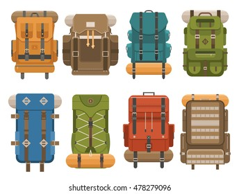 Colorful camping backpack set in flat design. Tourist retro back packs vector illustration. Classic styled hiking backpacks with sleeping bags. Camp and hike bags and knapsacks.