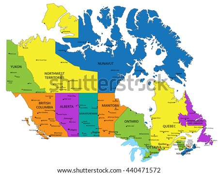 Colorful Canada Political Map Clearly Labeled Stock Vector Royalty