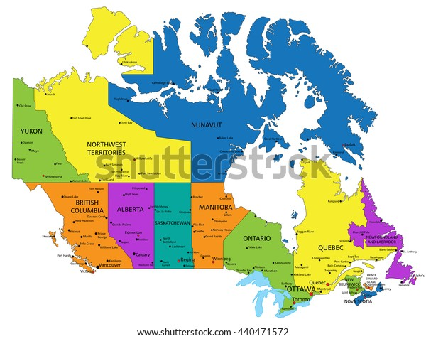 Political Map Of Ontario Canada.Colorful Canada Political Map Clearly Labeled Stock Vector Royalty