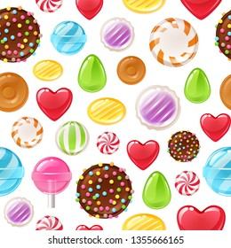 Colorful candies sweets icons background - chocolate, toffee, peppermint candies vector illustration.