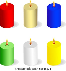 Colorful candle icon set isolated on white vector
