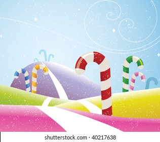colorful candy canes growing on a hillside while flurries of snow fall to the ground. PDF file included.
