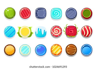 Colorful Candy Flash Game Element Templates Design Set With Round Sweets For Three In The Row Type Of Video