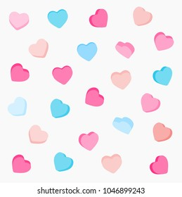 Colorful candy hearts pattern. Valentine's Day background in pastel colors. Decorative vector elements.