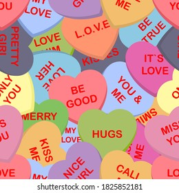 Colorful candy hearts seamless pattern background. Cute heart shaped candies with love authors. Set of sweets for conversation on Valentine's Day. Vector illustration
