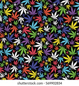 Colorful Cannabis leaves on black background -  seamless pattern.