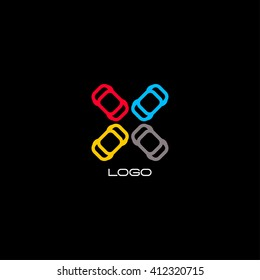 Colorful car. Abstract vector isolated automotive illustration. Blue, yellow, grey, red, colorful automobile logo. Parking logotype.