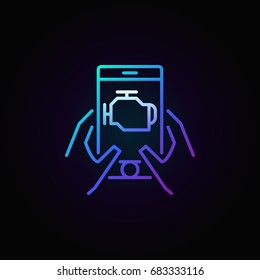 Colorful car engine diagnostics via smart phone vector linear icon or logo element on dark background