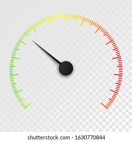 Colorful Car speedometer isolated on transparent background. Car odometer or tachometer with speed level scale.