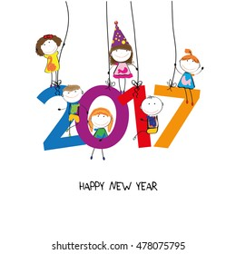 Colorful card fpr New Year 2017 with happy kids