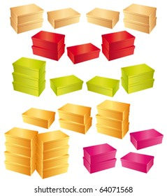 Colorful card-boxes shoeboxes shape. Vector icons collection.