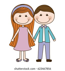 colorful caricature couple in suit formal with taken hands vector illustration
