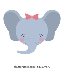 colorful caricature cute face of female elephant animal happiness expression with bow lace vector illustration