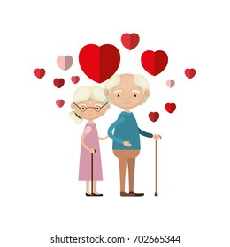 colorful caricature full body elderly couple embraced with floating hearts grandfather in walking stick and grandmother with collected hair and glasses vector illustration