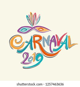 Colorful Carnaval 2019 Title with Colorful Mask.