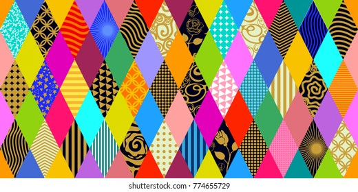 Colorful carnival background. Seamless vector pattern with rhombuses and decorative ornaments.  Abstract geometric composition for cards, invitations, tickets, covers, textile design.