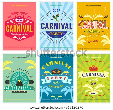colorful carnival celebration party posters flyers のベクター画像