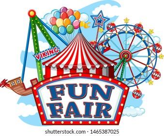Colorful carnival funfair banner illustration