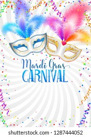 Colorful carnival masks with feathers vector Mardi Gras poster template with confetti and serpentine on white background