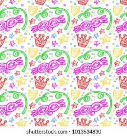 Colorful carnival pattern with doodles of masks, confetti and stars