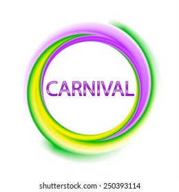 Colorful carnival symbol with text in green, purple, yellow Mardi gras colors, vector illustration