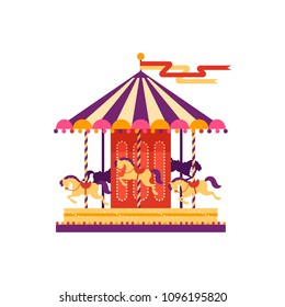 Colorful carousel with horses, amusement park element in flat style isolated on white background. Children's entertainment, merry-go-round, funfair carnival vector illustration