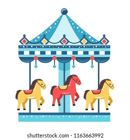 Colorful carousel on white background, vector illustration.