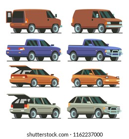 Colorful Cars with open trunk and closed trunk. SUV car, pickup, van, passenger car. Isolated on white background. Vector Illustration.