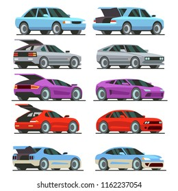 Colorful Cars with open trunk and closed trunk. supercars, passenger car, sport cars. Isolated on white background. Vector Illustration.