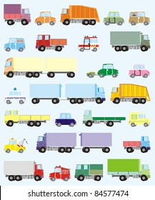 Colorful cars and trucks vector illustration set