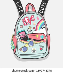 colorful cartoon backpack with cute icons illustration