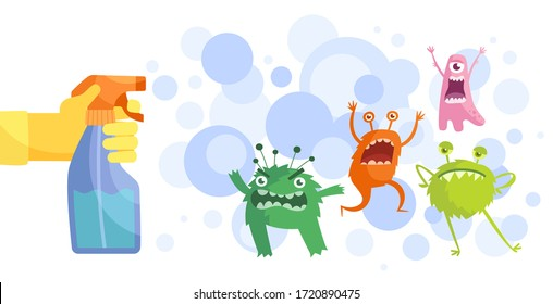 Colorful cartoon bacteria and a gloved hand spraying anti-bacterial spray from a spray bottle in a hygiene and cleanliness concept, colored vector illustration