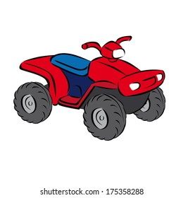 A colorful cartoon of a basic open quad bike isolated on a white background.