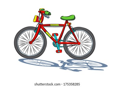 Colorful cartoon bicycle Isolated on a white background with a shadow.