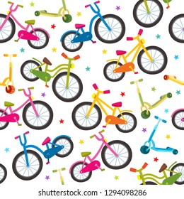 Colorful cartoon bicycles seamless pattern with bikes of different construction and stars on white background used for sport magazine, textile, wrapping paper.