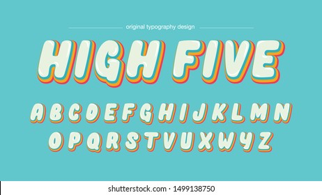 Colorful Cartoon Bubble Artistic Font Typography Lettering