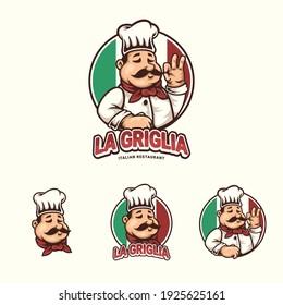 colorful cartoon chef mascot logo