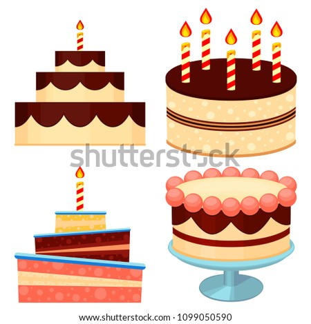 Colorful Cartoon Chocolate Cake Set Template For Birthday Or Invitation Gift Card Comfort Food