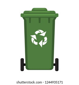 Colorful cartoon closed dumpster. Street recycle trash bin. Waste disposal themed vector illustration for icon, logo, stamp, label, emblem, certificate, leaflet, brochure or banner decoration