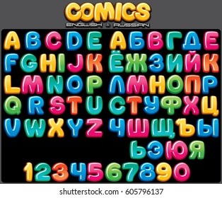 Colorful Cartoon and Comics Font. Russian and English Letter Signs and Set of Numbers