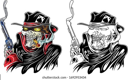 Colorful Cartoon.  Detailed realistic scary human skull of a wild west gangster with a black hat, scarf and gun. Vector drawing
