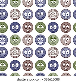 Colorful cartoon emoticons seamless pattern.