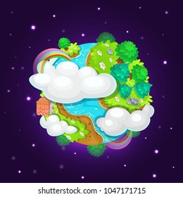 Colorful cartoon fantasy planet Earth on space background, vector illustration. Blue planet with islands, clouds, trees and rainbow.