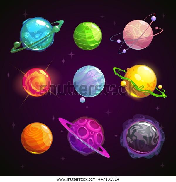 五颜六色的卡通幻想行星设置在空间背景 矢量插图库存矢量图 免版税