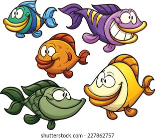 Colorful cartoon fish. Vector clip art illustration with simple gradients. Each on a separate layer.
