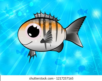 Colorful cartoon fish. Vector illustration of a cute little fish on a background of oceanic water.