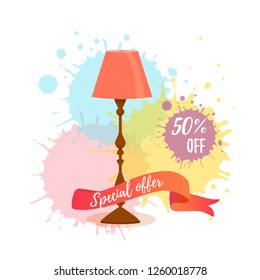 Colorful cartoon floor lamp sale concept for home appliance indoor furniture shop. Vector flat interior design element watercolor splash background. Clipart for web, advertising, banners, discounts.