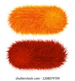 Colorful cartoon fluffy and furry pompons. Fur ball and element.  Vector isolated on white background. Funny fur element for game design.